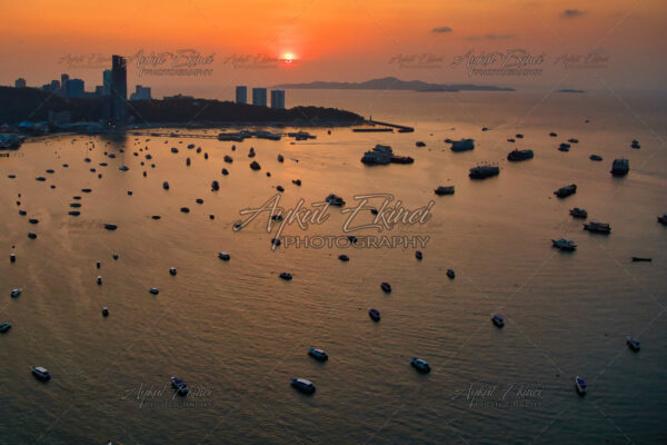 Aerial View With Drone.Sunset Pattaya Beach, Chonburi, Thailand