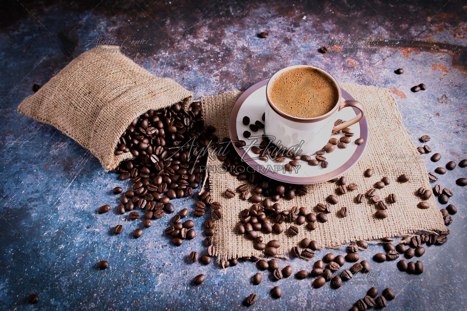 Roasted Brown Coffee Beans and Turkish coffee on the Rustic Table