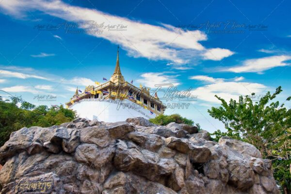Wat Saket, The Golden Mount Temple, Travel Landmark of Bangkok, Thailand.