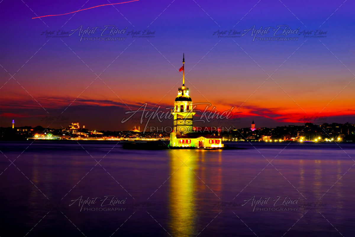 Landscape of the Maiden's Tower. The Maiden's Tower is on the waters of Uskudar and it can be considered as the cornerstone of the Bosphorus.