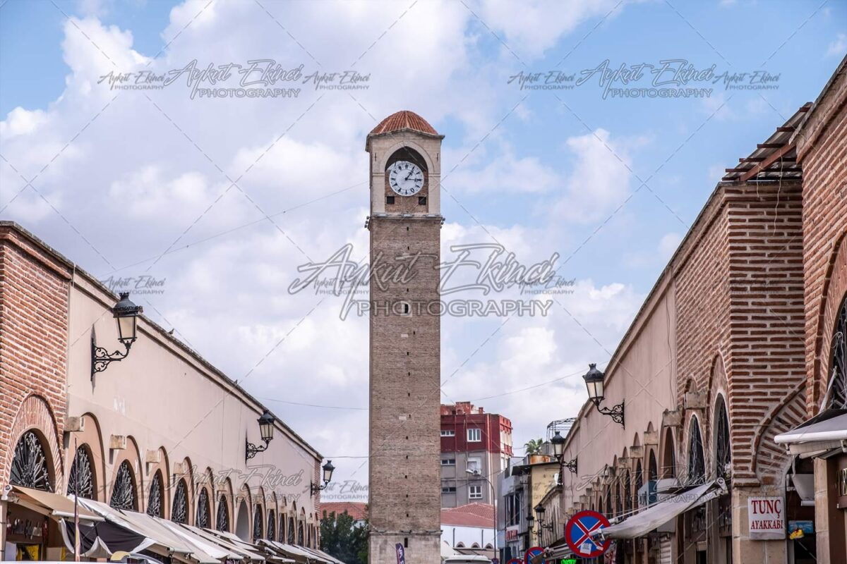 Old clock tower with blue and clouds sky in Adana, Turkey. Historical Old Clock Tower called 'Büyüksaat'