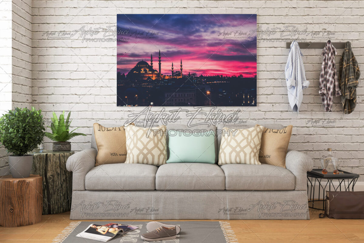 Sunset in Istanbul, Turkey with Suleymaniye Mosque, Ottoman imperial mosque